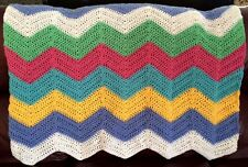 CROCHET blanket afghan couch throw chevron ripple handmade baby multicolor soft