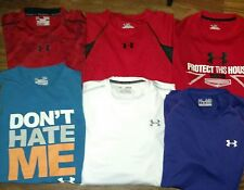 MENS (M) NICE- LOT OF 6- UNDER ARMOUR- ATHLETIC TEES AND TOPS