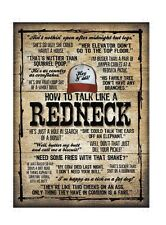 How to Talk Like a Redneck Tin Sign Funny Novelty Sign