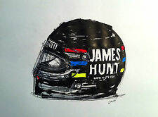 JAMES HUNT HELMET MCLAREN 1976 INK DRAWING ALBERTO LAVIE
