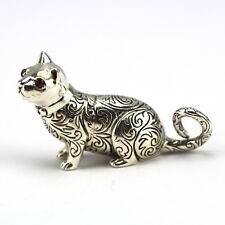COLLECTABLE VICTORIAN STYLE EMBOSSED CAT FIGURE RUBY EYES 925 STERLING SILVER
