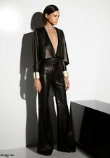 LAMBSKIN LEATHER CAPE TOP BELL BOTTOM CATSUIT JUMPSUIT TAILOR MADE TO ANY SIZE