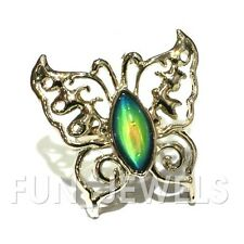 Trendy Color Changing Oval Stone Butterfly Mood Ring Free Chart & Box Retro
