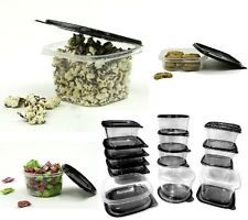 30 Pcs Reusable Plastic Food Storage Containers Set with Air Tight Black Lids