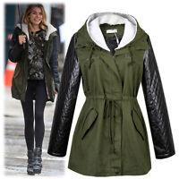New Ladies Hooded Parka Fleece Top Size 8-18 Winter Warm Womens Long Jacket Coat