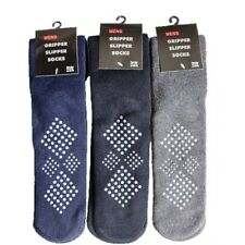 3 Pairs Of Men's  Slipper Socks, Non-Skid Cosy Gripper Socks, Winter Gift 6-11