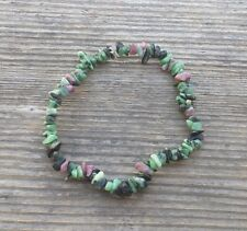NATURAL RUBY IN FUCHSITE STONE GEMSTONE STRETCHY CHIP BRACELET