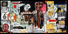 Graffiti painted wall Michel Basquiat Neo-Expressionism Silk Poster 24x36 inch
