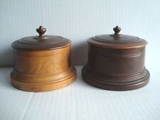 2 Peaseware Turned Wood Treen Tobacco Jar Lignum Vitae Spice Container Tea Caddy