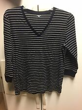 Women's Jones New York XL 3/4 Sleeve Navy V Neck Top