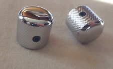 METAL DOME KNOBS for ELECTRIC GUITAR CONTROL VOLUME TONE MIGHTY MITE CHROME PAIR