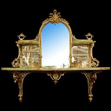 Vintage Onyx and Brass Mirrored Wall Shelf #6783