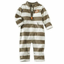 Boys Carter's Fleece Jumpsuit Coverall Onepiece Romper Stripes brow/beige 9M NWT
