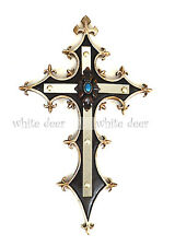 Western Style Wall Cross Fleur De Lis Turquoise Stone Glass Mirror Floral Resin