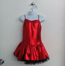 Dance Costume Medium Child Red Metallic Dress Jazz Tap Solo Competition Pageant