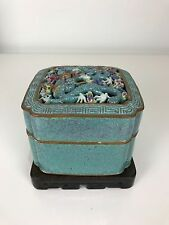 Superb Rare Large Chinese Qing Period Robins Egg Dragons Scholars Porcelain Box