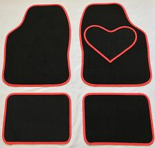 BLACK CAR MATS RED HEART HEEL PAD FOR FORD KA KUGA MONDEO PUMA RANGER S MAX