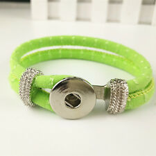 DIY Handmade Leather Bracelets Drill Fit For Noosa Snaps Chunk Charm Button V/40