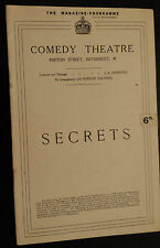 "1922 Comedy Theatre programme:  ""SECRETS"" by Rudolf Besier & May Eddington"