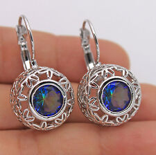 18K White Gold Filled -Huge Hollow Flower Blue MYSTICAL Topaz Hoop Prom Earrings