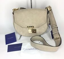 NWT Rebecca Minkoff Antique White Taupe Leather Suede Paris Saddle Bag MSRP$295