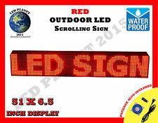 "RED - 51""X6.5"" LED PROGRAMMABLE SCROLLING SIGN - OUTDOOR (Totally Water Proof)"