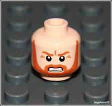 Lego Indiana Jones x1 Light Flesh Orange Head Beard Angry Castle Minifigure NEW