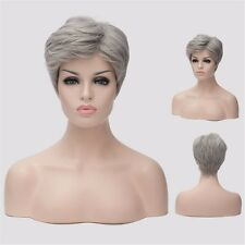 Fashion Silver Gray Women Cosplay Full Hair Mixed Wig Short Costume Sexy Wig