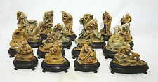 Very  Well  Hand  Carved  18  Pieces  of  Chinese  Shou-Shan  Stone  Louhans