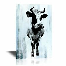 wall26 - Canvas Wall Art - A Cow on Vintage Background - Ready to Hang - 24x36