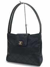 Auth CHANEL Black Quilted Lambskin Leather CC Clasp Shoulder Bag Purse #24893