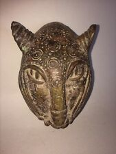 AUTHENTIC AFRICAN ART BENIN  HANDS CARVED BRONZE LEOPART MASK / STATUE