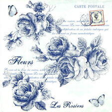 "20 Pcs Luxury Table Paper Napkins for Party, Decoupage ""Blue Roses"