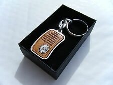 St Christopher Keyring Real Olive Wood with metal frame Gift Boxed BRAND NEW