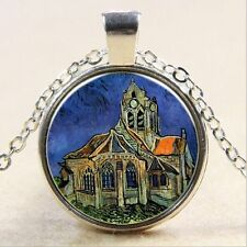 Van Gogh The Church at Auvers Cabochon Glass Tibet Silver Chain Necklace GY18