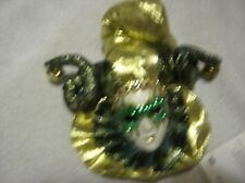 Venetian Mask Masquerade Carnival Wall plaque green and gold