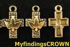 30 Pcs Antiqued gold pigeon cross drops FC899
