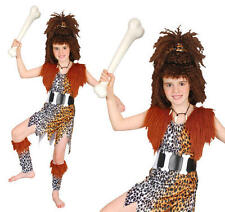 Childrens Cavegirl Fancy Dress Costume & Wig Girls Stoneage Outfit Childs Kids S