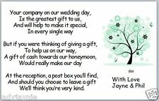 50 x Wedding Poem Cards - Cash for Honeymoon - Tree with Flowers & Butterflies