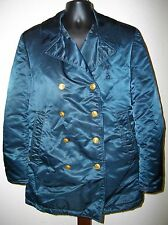 Vintage 1960s Fireman Fire Department Yukon Reefer Satin Quilted Peacoat Jacket