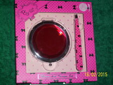 Boxed Ruby Double Compact MIRROR & Pink TWEEZER SET Plucking Gift Bows Polka Dot