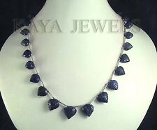 DESIGNER 190Ct NATURAL SAPPHIRE LEAF FACETED CARVED BEAD NECKLACE WITH EARRINGS