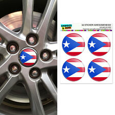 Puerto Rico Puerto Rican Flag - Wheel Center Cap 3D Domed Stickers - Set of 4
