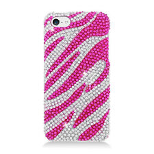 For Apple iPhone 5C Crystal BLING Hard Case Phone Cover Silver Pink Zebra