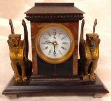 Marble Bronze ,Griffin Pagoda, Mantle clock,Enamel on copper face