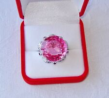 37.42 TCW PINK TOPAZ & RUBY & W. SAPPHIRE RING, Sz. 6 ~ WHITE GOLD over 925 SS