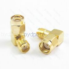 2X RP-SMA male to SMA female & 90 degree Connector and Right Angle Adapter new