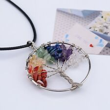 Tree of Life Pendant Necklace Natural Crystal Quartz Gemstone 7 Chakra Healing
