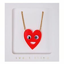 Red Heart Necklace with Wobbly Eyes Cute Kitsch Jewellery Gift Boxed Meri Meri