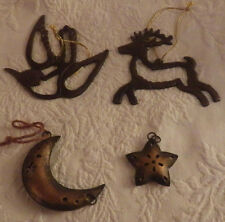 Lot of 4 Christmas Ornaments Metal Deer Moon Star Decoration Holiday